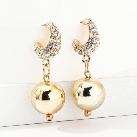 Fashionable C-shaped diamond earrings metal ball earrings long earrings women NHNZ198199's discount tags