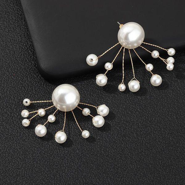 Pendientes de rama de temperamento de moda pendientes de perlas retorcidas a mano para mujer NHNZ198204