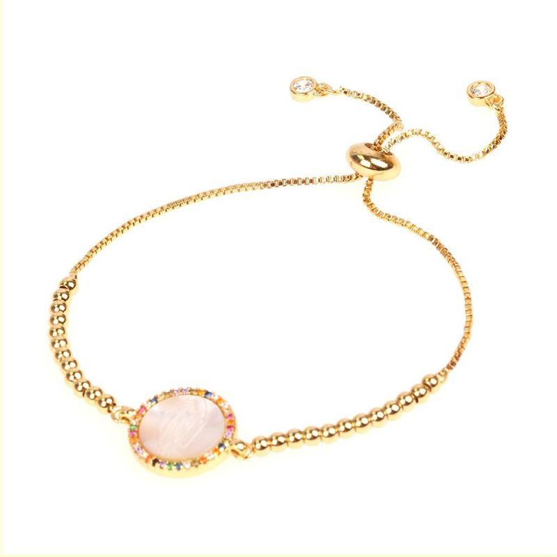 Fashion Round Fancy Diamond Shell Virgin Mary Micro Set Zircon Bracelet NHPY198205