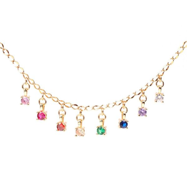 New Square Colorful Zircon Pendant Short Clavicle Chain Fashion Jewelry Wholesale NHPY198211