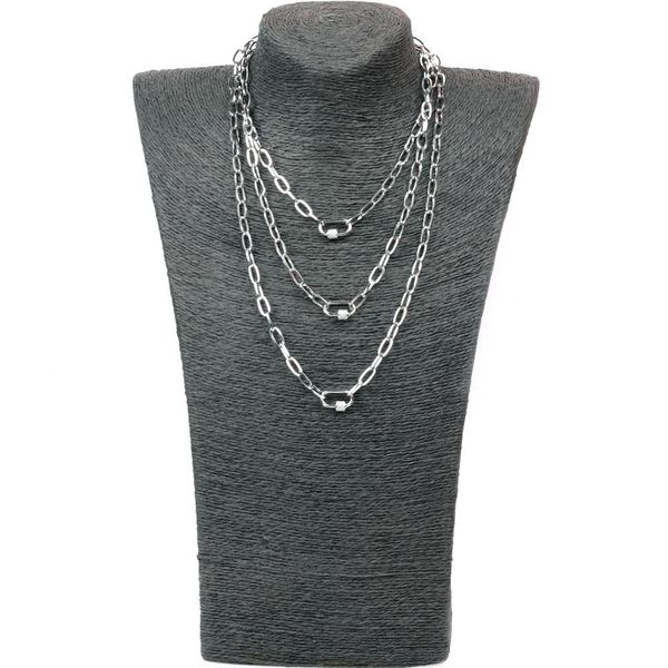 Fashion stainless steel multilayer long chain lock micro inlay pendant necklace NHPY198215