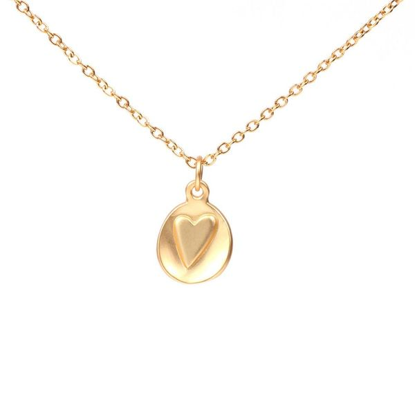 Fashion Simple Round Brand Matte Love Necklace Female Clavicle Chain Stainless Steel Necklace NHPY198217