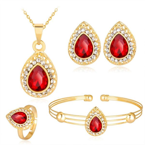 New Women's Jeweled Water Drop Gem Series Plating KC Necklace Earring Ring Bracelet Four-piece Set NHDR198235
