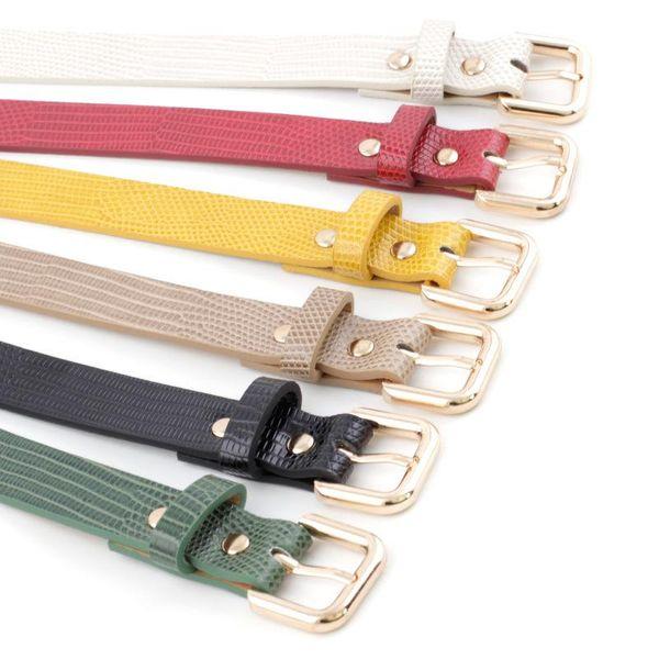 Fashion women's stone pattern belt fashion lizard pattern pin buckle decorative jeans belt women NHPO198247