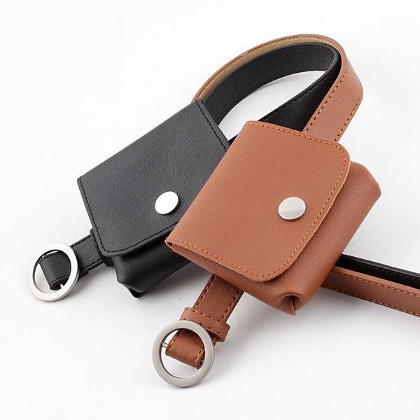 Fashion non-hole round buckle thin belt casual key coin purse belt belt women NHPO198251