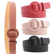 New solid color ladies light body pu belt fashion round buckle needle-free punch-free wild pants belt NHPO198253