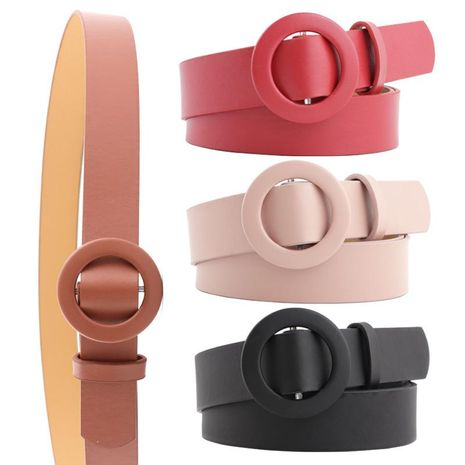 New solid color ladies light body pu belt fashion round buckle needle-free punch-free wild pants belt NHPO198253's discount tags