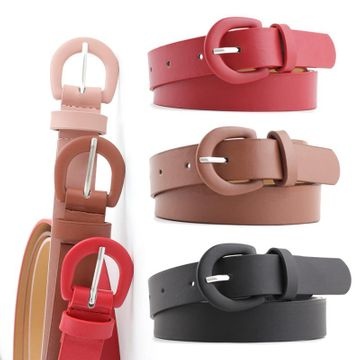 New solid color ladies light pu small belt fashion wild pin buckle decorative jeans thin belt NHPO198255