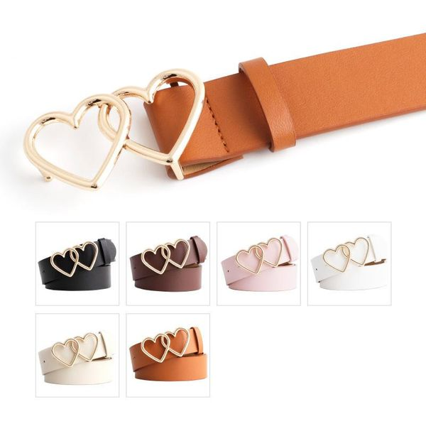 Love double loop buckle belt female fashion wild lady student decoration jeans casual pants belt NHPO198256
