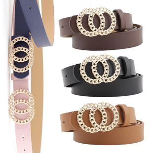 New ladies belt personality double loop buckle wild fashion dress belt NHPO198261's discount tags
