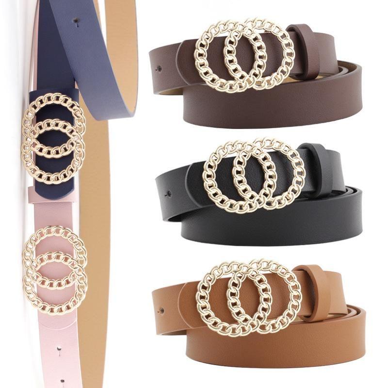 Nuevas señoras cinturón personalidad doble hebilla de bucle cinturón de vestir de moda salvaje NHPO198261