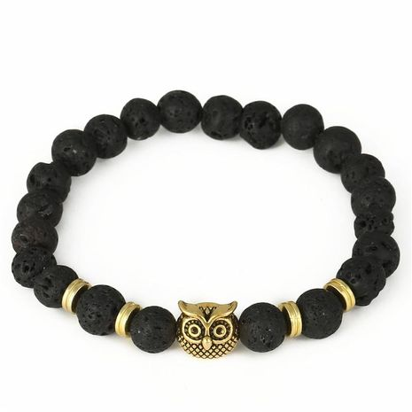 Fashion Owl Bead Stretch Bracelet Natural Lava Volcanic Agate Bead Energy Bracelet NHZU198274's discount tags