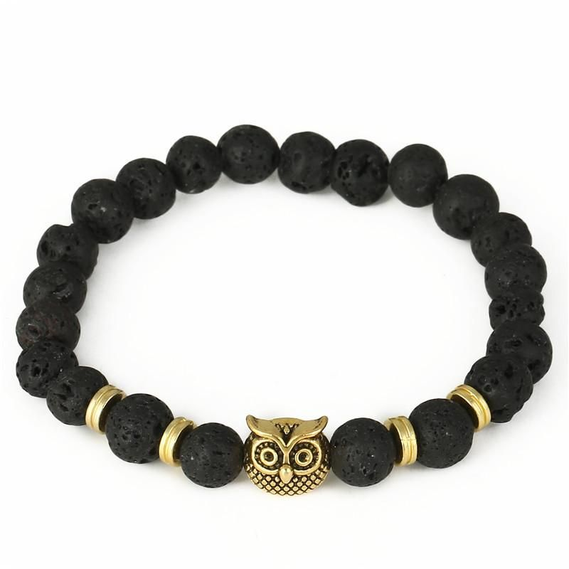 Fashion Owl Bead Stretch Bracelet Natural Lava Volcanic Agate Bead Energy Bracelet NHZU198274