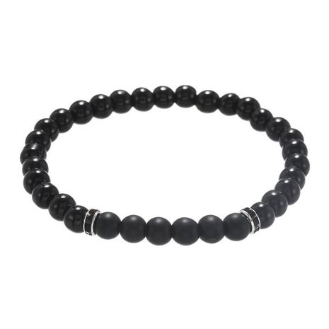 Fashion 6mm black diamond black frosted stone bracelet elastic point drill drill ring bracelet men wholesale NHZU198275's discount tags