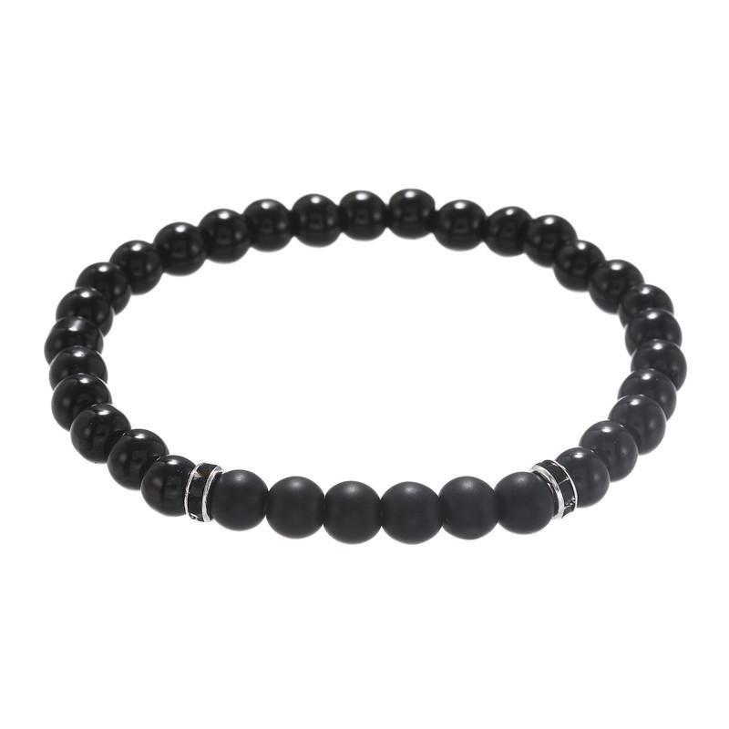 Fashion 6mm black diamond black frosted stone bracelet elastic point drill drill ring bracelet men wholesale NHZU198275
