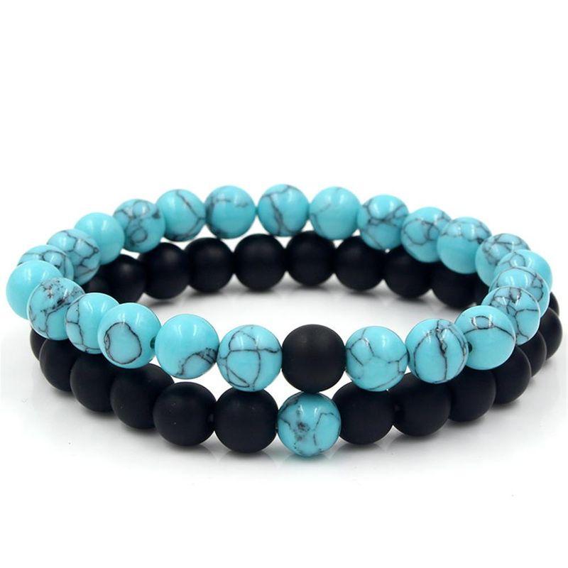 Fashion natural turquoise black frosted stone bracelet elastic bracelet wholesale NHZU198276