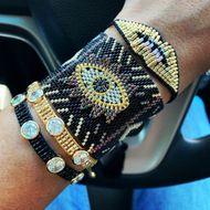Bohemia Diamond Lips Miyuki Beads Woven Turkish Evil Eye Bracelet NHGW198285