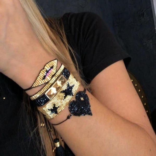 Miyuki beaded love heart with pentagram female bracelet studs lips jewelry NHGW198288