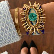 Pulsera hecha a mano azul turca del mal de ojo de las mujeres de Miyuki de la moda NHGW198290