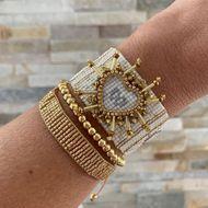 Moda Bohemia 4mm Gold Bead Jewelry Import Miyuki Mi Bead Hand Woven Love Bracelet NHGW198293