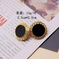 NHOM551665-Black-Silver-Stud-Earrings