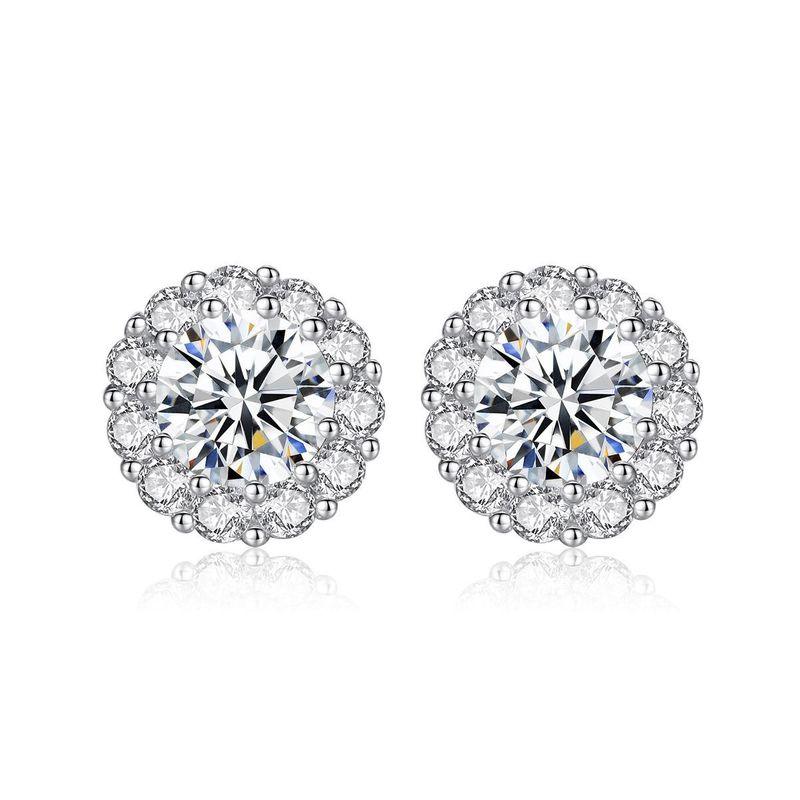 Fashion S925 Sterling Silver Earrings AAA Zircon Simple Earrings Wholesale NHTM198239