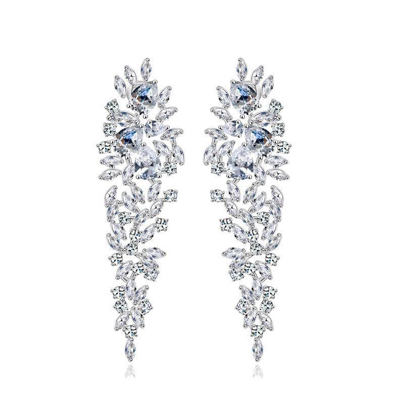 FashionAAA Zirconia Pear Earrings Luxury Bridal Dinner Earrings Wholesale NHTM198238