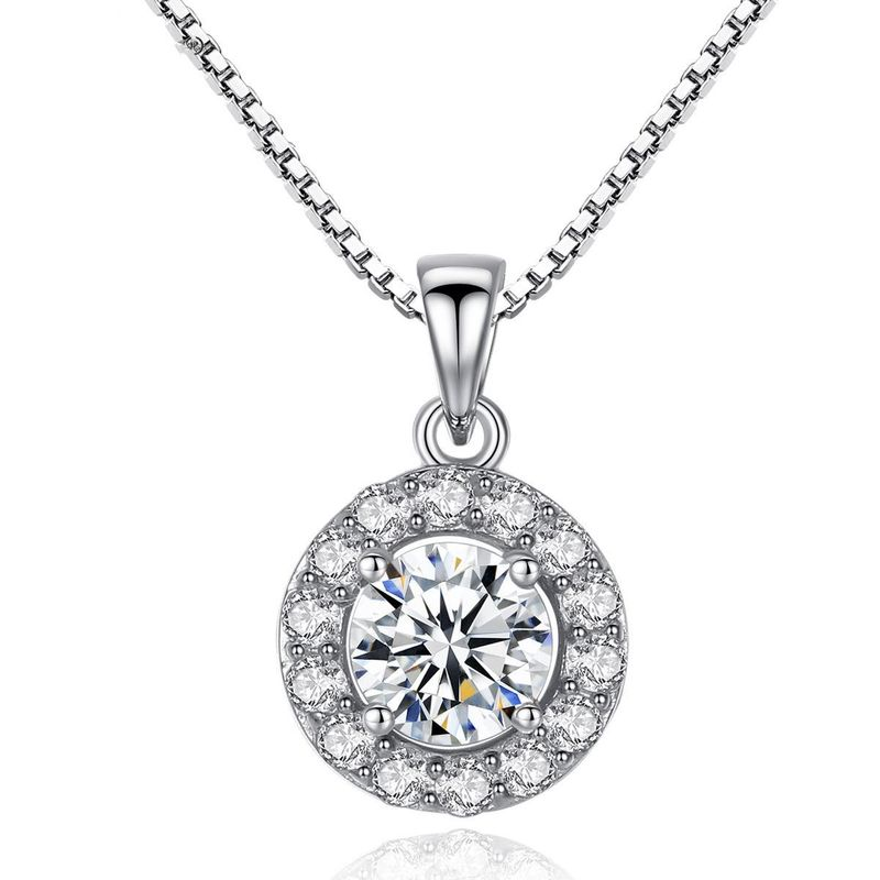 Fashionable wild sona diamond disc S925 sterling silver necklace NHTM198240