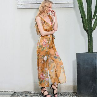 Spring and summer new fashion V-neck casual fashion printing ladies jumpsuit NHDE199725's discount tags
