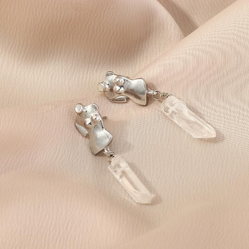 Fashion Alloy Silver Earrings Studs Long Crystal Earrings NHNZ198301