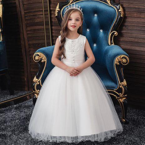 Enfants robe filles princesse tutu blanc fleur fille robe de mariée enfants robe NHTY198304's discount tags