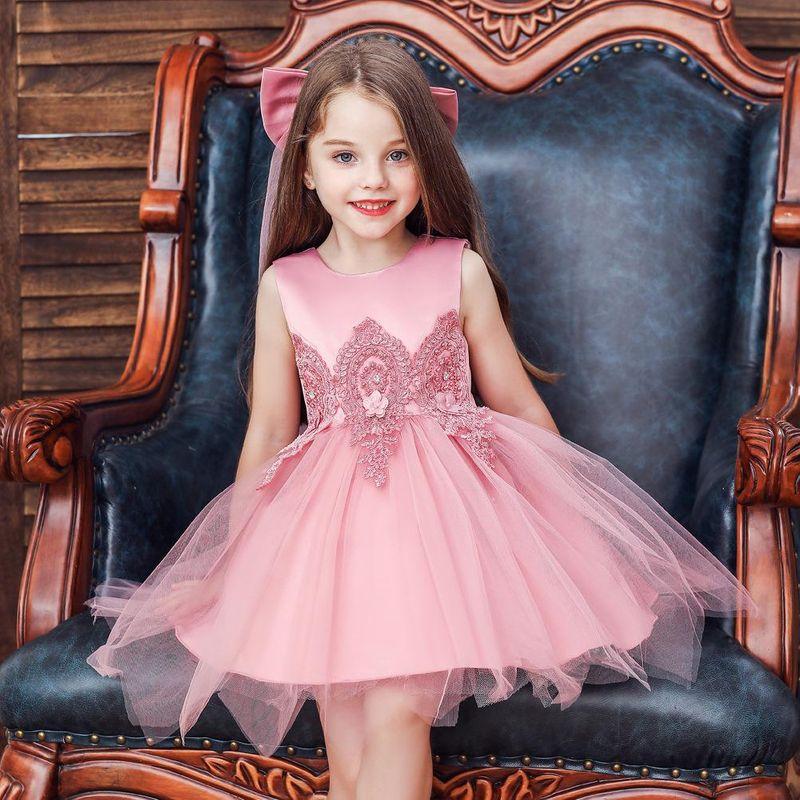 New children's dress princess dress girls wedding dress puffy net yarn flower girl dress with bow veil NHTY198306