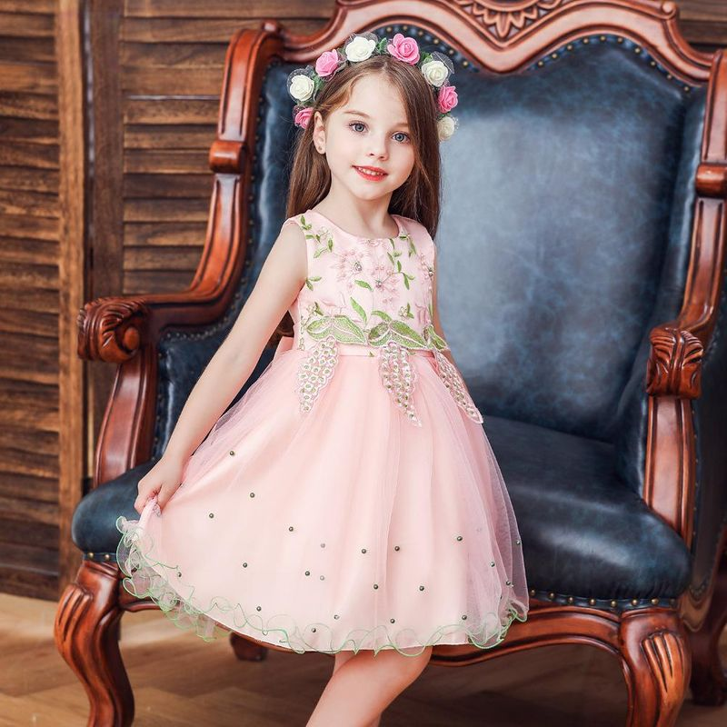 Children's wedding dress princess skirt girl host catwalk dress summer embroidered sleeveless dress NHTY198308