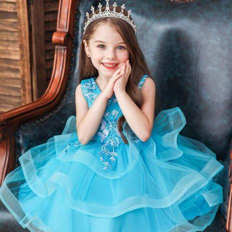 Nouvelle robe pour enfants robe de princesse fleur fille robe de mariée jupe tutu fille spectacle costume NHTY198309's discount tags