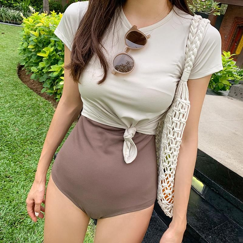 New conjoined contrast color small chest conservative short sleeve sexy swimsuit NHHL198328