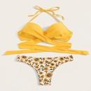 Sexy size chest gather split hot spring beach bikini swimsuit NHHL198341