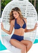 New Candy Solid Back Halter Sexy Split Bikini Swimsuit NHHL198342