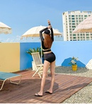 New split triangle long sleeves were thin and high waist conservative twopiece womens swimwear NHHL198346