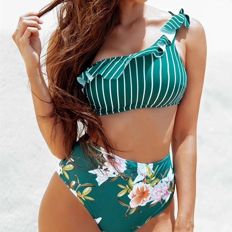 New Hot Ladies Split One Shoulder Ruffle Print Bikini Swimsuit NHHL198359