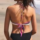 New hot sale ladies split printed color stripe halter bikini swimsuit NHHL198361