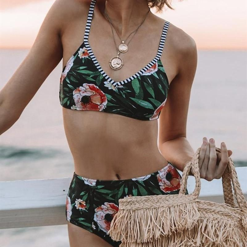 New ladies split high waist printed bikini swimsuit women's swimwear NHHL198362