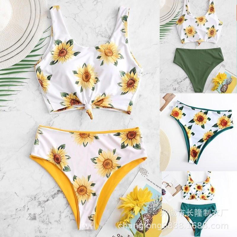 New split swimsuit with sun print bikini on both sides NHHL198389