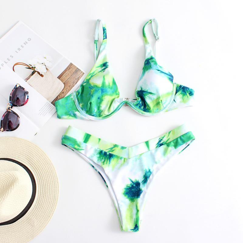 Fashion sexy split swimsuit printed underwire bikini NHHL198390