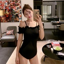 Fashion new ruffled strapless offshoulder triangle onepiece swimsuit NHHL198398