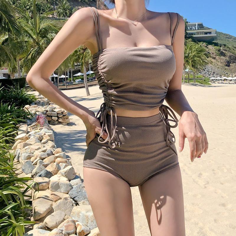 New Split Two-Piece Sling Bikini Drawstring Swimsuit NHHL198399