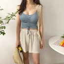 New split sexy suspender drawstring knit vest wrapped chest twopiece swimsuit women NHHL198400