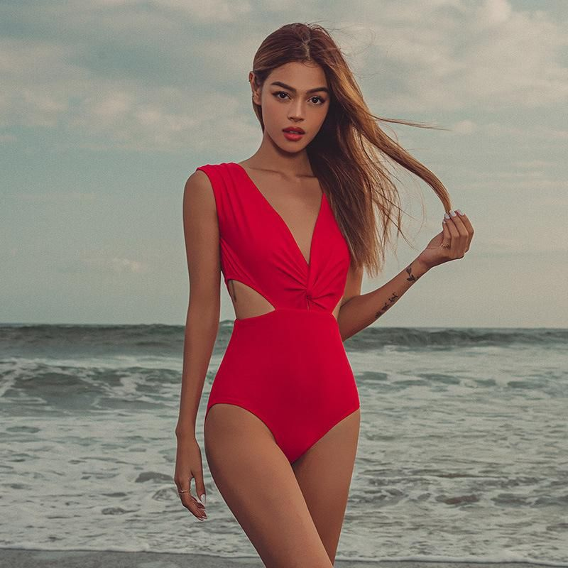 Fashion New Sexy Open Waist Deep V Big Backless One Piece Red Swimsuit Wholesale NHHL198402