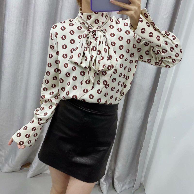 Wholesale small shirt women long sleeve shirt women bottoming shirt printed chiffon shirt NHAM198430