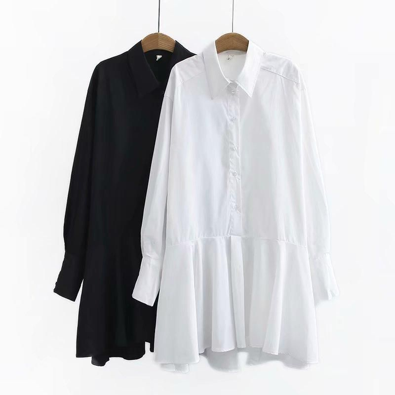 Fashion spring black and white two-color cotton loose version long sleeve fishtail shirt skirt wholesale NHAM198434