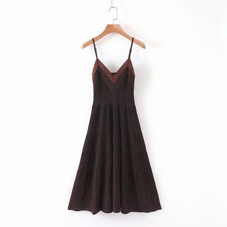 Wholesale Fashion Spring Gold Silk Knit Sling Dress NHAM198436's discount tags
